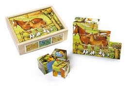 """Würfelpuzzle """"Landleben"""", Gesellschaftsspiel mit Holzwürfel, Bauernhof-Motiv, Holzspielzeug"""