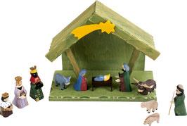 Krippe mit Figuren, Weihnachten-Christmas