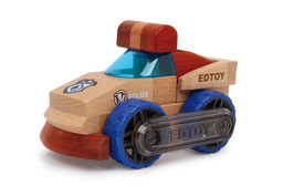 Polizeiwagen Edtoy, Fahrzeuge-Autos, Bausatz aus 9 Teilen, Holzspielzeug