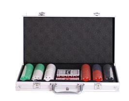 Poker-Set im Koffer, Spielen und Spaß für große und kleine Zocker, Gesellschaftsspiel im silbernen Koffer
