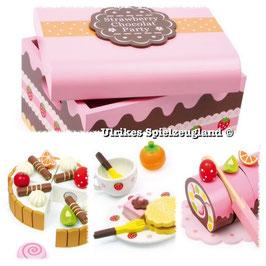 Konditorei- Süßigkeiten-Kiste, Holzkiste für Köstlichkeiten, als Zubehör für Küchen und Kaufläden, mit Teller Tassen , Kuchentablett