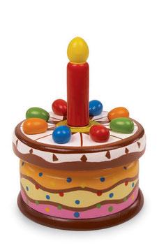 """Spieluhr """"Geburtstagstorte"""" für den Kindergeburtstag, Holzspielzeug"""