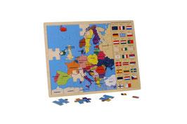 """Puzzle """"Europa mit Fahnen"""", Lernspiel für Kenntnisse in Geographie / Erdkunde, aus stabilem Schichtholz"""