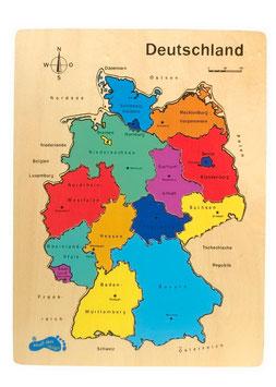 """Puzzle """"Deutschland"""", Lernspiel für Kenntnisse in Geographie / Erdkunde, aus stabilem Schichtholz"""