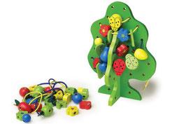Fädelbaum, Motorik Spielzeug, Kinder-Holzspielsachen