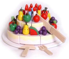 Schneide-Geburtstagstorte für den Kindergeburtstag, Holzspielzeug für Küchen u. Zubehör
