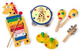 Musik Set aus 6 Musikinstrumenten im Holzkasten, Kinder-Holzspielzeug