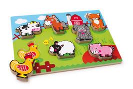 """Puzzle """"Farmtiere"""", Bauernhöfe u. Zubehör, niedliche Tiermotive aus Holz"""