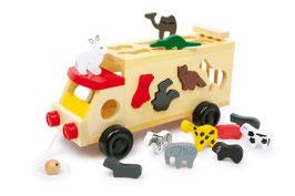 Zoowagen, groß, Fahrzeuge-Autos, Motorik Spielzeug, Holzspielzeug mit Tieren