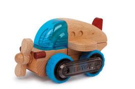 Flugzeug M, Propellerflugzeug als Bausatz aus 8 Teilen, Holzspielzeug