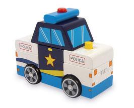 Polizeibus mit Polizei-Sirene und Blinklicht, Police-Einsatzfahrzeug, Notfallhilfe, Fahrzeuge-Autos