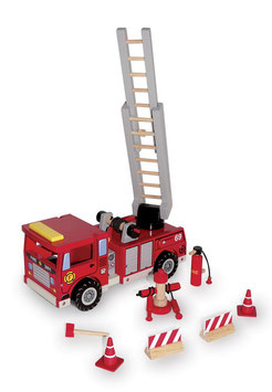 Feuerwehrwagen mit Drehleiter und 9-tlg. Zubehör, Fahrzeuge-Autos, Holzspielzeug