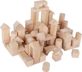 Sack mit Bausteinen - 100 Bauklötze im Leinensack zum Bauen u. Konstruieren für junge Baumeister, Holzspielzeug