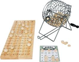 Bingo, Gesellschaftsspiel mit reichhaltigem Zubehör, Spielbrett aus Holz