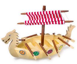 Wikingerschiff, Seefahrer-Boot der alten Wickinger, Drachenboot mit steckbaren Rudern und Schilden, Holzspielzeug für alle abenteuerlustigen Kinder.