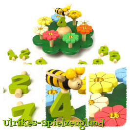 Kinder-Geburtstag - 9 Zahlen zum Stecken, Geburtstagswiese mit Blumen als Kerzenhalter