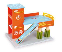 Waschanlage mit Parkhaus für Fahrzeuge-Autos, Holzspielzeug