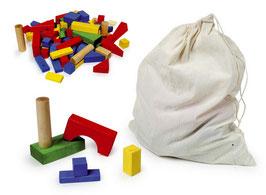 Bauklötze, bunt, Motorikspielzeug aus Holz für kleine Baumeister und Architekten, Bauen u. Konstruieren