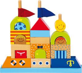 Steck-Sandburg, Bauklötze zum Bauen u. Konstruieren für junge Baumeister, Architekten u. Ingenieure, Holzspielzeug
