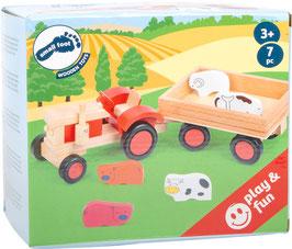 Trecker mit Anhänger und Tieren, Holztraktor als Bauernhof-Fahrzeug