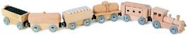 Holzspielzeug: Zug, magnetisch, 6-teilig mit Lok und Waggons, Eisenbahnen