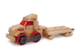 Lastwagen mit Auflieger, Fahrzeuge-Autos für Bauen u. Konstruieren, Holzspielzeug als Bausatz von Edtoy