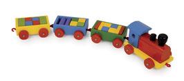 Zug Niklas, Eisenbahn mit Bauklötzen zum Bauen u. Konstruieren, Holzspielzeug, Zieh- u. Schiebeartikel