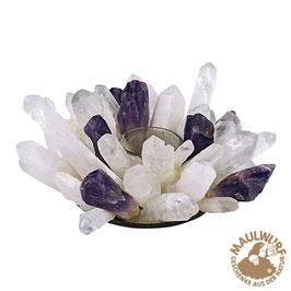 Teelicht Bergkristall und Amethyst