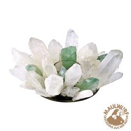 Teelicht Bergkristall und grüner Fluorit