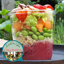 Salat für Donnerstag 26.11.2020 - Bulgur mit Melone und Erdbeer-Dressing
