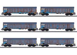 """Marklin 47189 Set hogeboordwagens """"houtspaandervervoer"""" NS"""