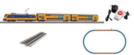 Piko 97939  NS startset analoog met BR 186 + 2x dubbeldeksrijtuigen. De set is voorzien van PIKO A-rails met railbed,