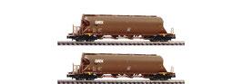 Fleischmann 849008 - 2pcs Set: Stofsilo trolley, GATX