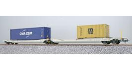 ESU 36545 Taschenwagen, H0, Sdggmrs, 37 84 499 3 174-0, NL-AAEC Ep. VI, Container CMAU 554986 + MEDU 183613, DC