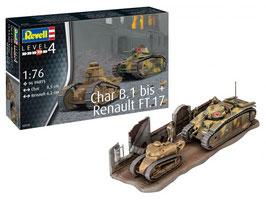 Revell 03278 Char. B.1 tot en met Renault FT.17 Schaal: 1:76