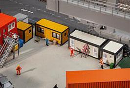 Faller 130136  4 bouwcontainers, geel-zwart / grijs-zwart