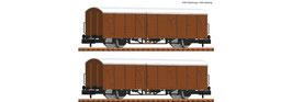 Fleischmann 826213 - 2pcs Set: Overdekte goederenwagons, DB AG