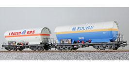 ESU 36538 Gas-Kesselwagen Set H0, ZAG 620, Solvay 33 80 781 2 362-1 + Löwengas 33 80 761 5 033-9, Vorbildzustand um 1987, blau/weiß, DC
