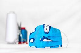 KINDER | MNS - Maske in Hellblau mit Muster
