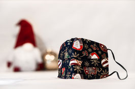 MNS - Maske Weihnachtsmuster Dunkelblau