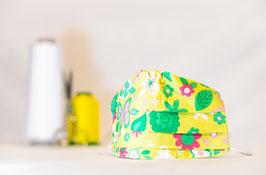 MNS - Maske in Gelb mit Blumen