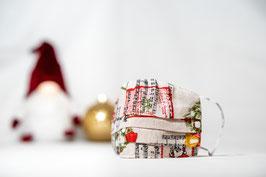 MNS - Maske Weihnachtsmuster Weiß/Beige