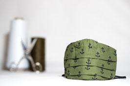MNS - Maske in Grün mit Anker