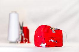 KINDER | MNS - Maske in Rot mit Muster