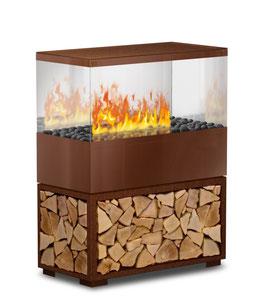 Case Effektfeuer - Rostoptik mit Echtholzeinlage
