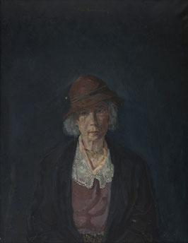 Portret oudere vrouw met hoedje