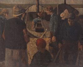 Vissers bij botter aan de  Zuiderzee
