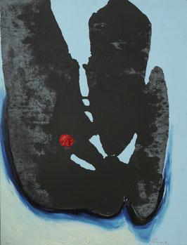 Abstract zwartblauw met dikke rode stip
