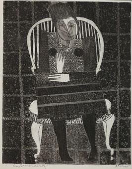 Abstracte dame op stoel