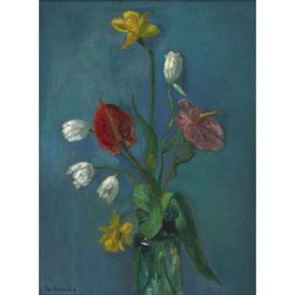 Vaas  bloemen met blauwe achtergrond